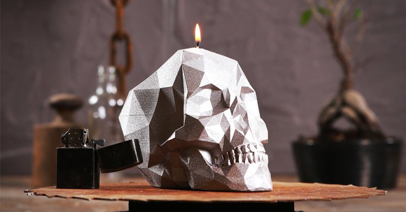 skull candle silver color candellana
