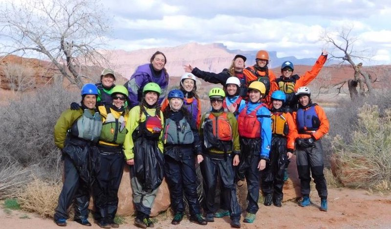 Women packrafters outside Moab Utah on the Green River in drysuits