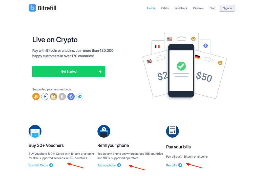 Bitrefill - Segmenting at the top of the page