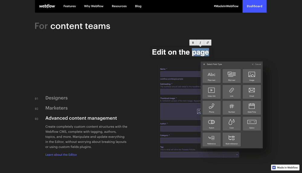 Webflow - Convincing Content teams (inside the marketing departments)