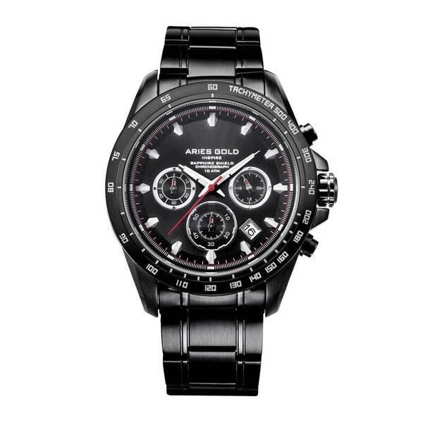 """Aries Gold G7001 BK-BK """"Drifter"""" - Sportief Herenhorloge (Zwart met zilver)"""