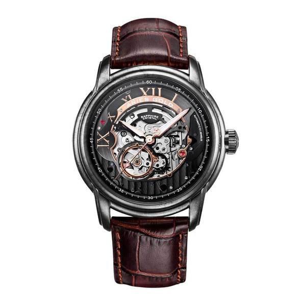 """Aries Gold - Inspire """"El Toro"""" - G 9005 AS-BK (Zilver, zwart, rosé goud met bruin band)"""
