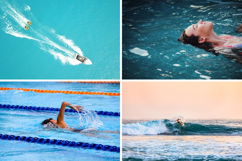 4 photos in a panel: an aerial view of a boat towing people riding innertubes, a woman relaxing while floating in the water, a person swimming front crawl in between lane ropes, a man surfing a half crested wave.