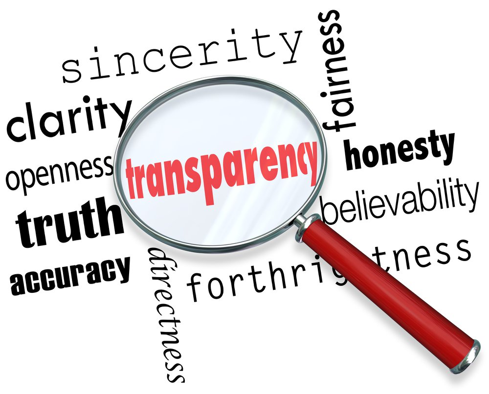 word cloud focussed on transparency and including honesty believability fairness sincerity with a red handled magnifying glass for Rawmate