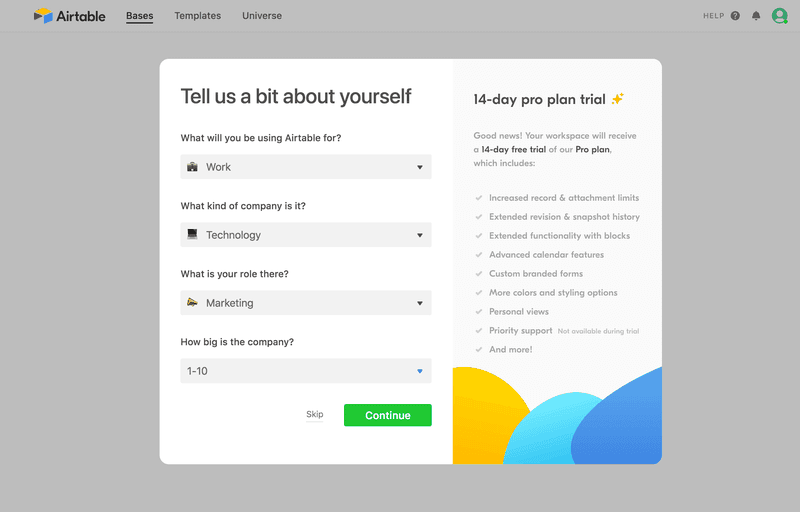 Airtable Signup Flow