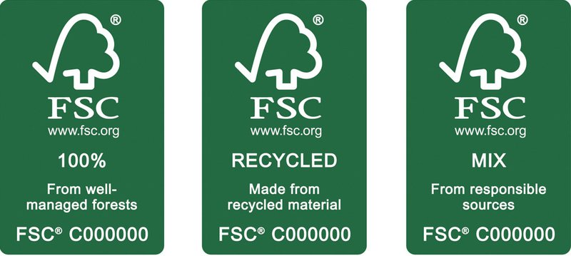 Erve Europe, FSC logos, 100%, recycled, mix